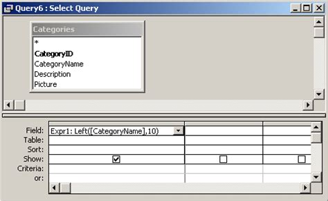 MS Access: Left Function